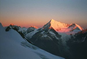 The sun is already on the Weisshorn