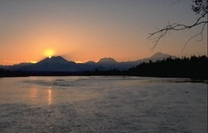 Sunset behind Mount Foraker; right side Hunter and Denali.