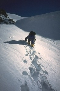Ascending in the couloir