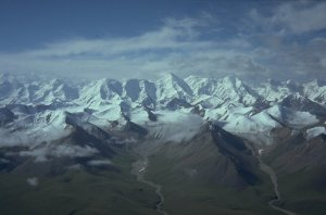 The glaciers of Tien Shan come into sight
