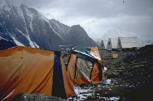 Our tents in base camp Moskvin after bad weather