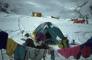 Drying clothes in advanced base camp