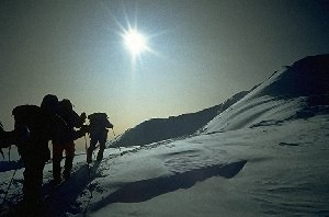 On the way to the summit at 6600 m