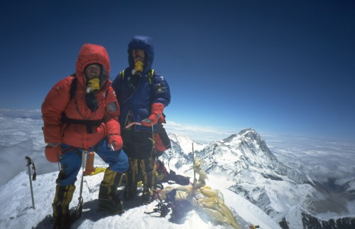 Climbers at the top of Mount Everest.