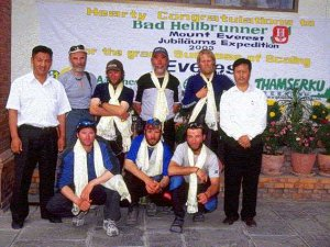 After the successful climb: The team with Mr. Sonam Sherpa and Mr. Anjan Rai
