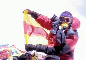 Eike on the summit, with the flag of Baden