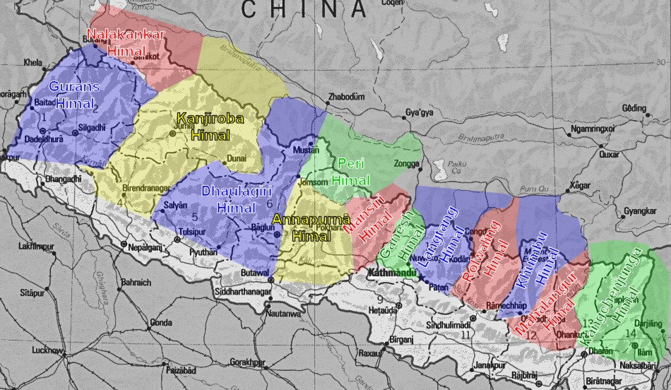 Himalaya Berge Karte.Die Hochsten Berge Der Welt